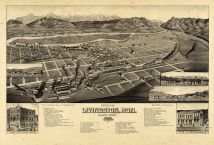 Livingston 1883 Bird's Eye View 24x35, Livingston 1883 Bird's Eye View